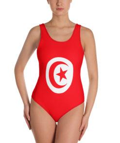 Maillot de bain 1 pièce drapeau Tunisie